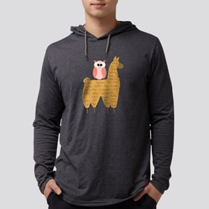 Fun Owl Riding a Llama Long Sleeve T-Shirt