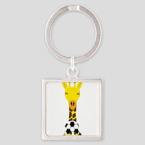Funny Giraffe Playing Soccer Keychains