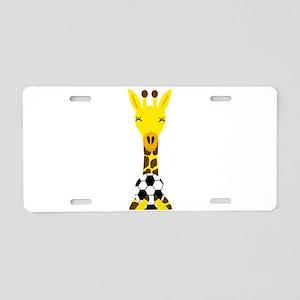 Funny Giraffe Playing Soccer Aluminum License Plat