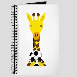 Funny Giraffe Playing Soccer Journal