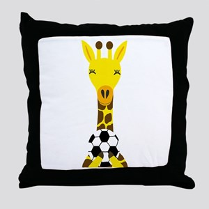 Funny Giraffe Playing Soccer Throw Pillow