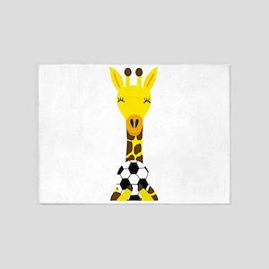 Funny Giraffe Playing Soccer 5'x7'Area Rug