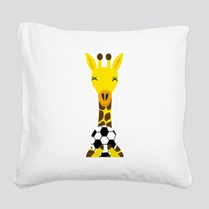 Funny Giraffe Playing Soccer Square Canvas Pillow