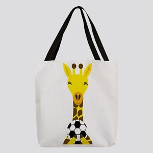 Funny Giraffe Playing Soccer Polyester Tote Bag