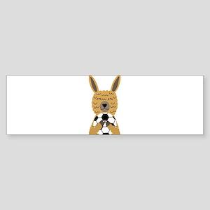 Cute Llama Playing Soccer Cartoon Bumper Sticker