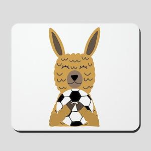 Cute Llama Playing Soccer Cartoon Mousepad