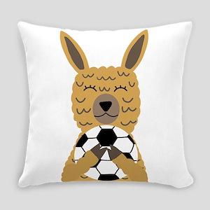 Cute Llama Playing Soccer Cartoon Everyday Pillow
