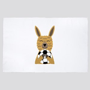 Cute Llama Playing Soccer Cartoon 4' x 6' Rug