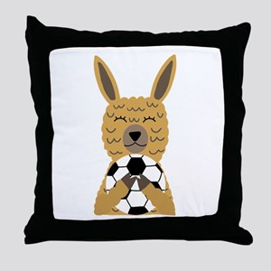 Cute Llama Playing Soccer Cartoon Throw Pillow