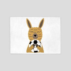 Cute Llama Playing Soccer Cartoon 5'x7'Area Rug