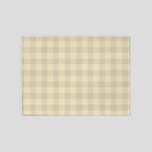 Pastel Beige Tartan Pattern 5'x7'Area Rug