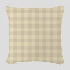 Pastel Beige Tartan Pattern Woven Throw Pillow