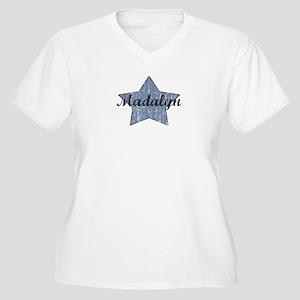 Madalyn (blue star) Women's Plus Size V-Neck T-Shi
