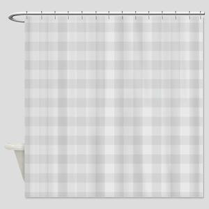 Pastel Gray Tartan Pattern Shower Curtain