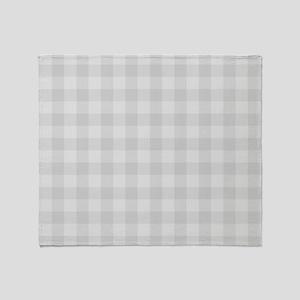 Pastel Gray Tartan Pattern Throw Blanket