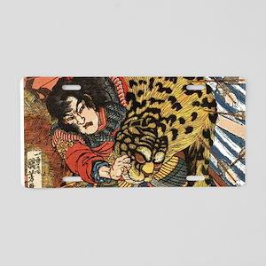japanese tiger fighting sam Aluminum License Plate