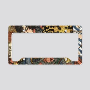 japanese tiger fighting samur License Plate Holder