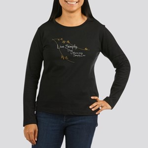 Live Simply Women's Long Sleeve Dark T-Shirt
