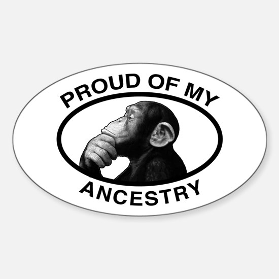 Proud of my Ancestry Chimp Oval Decal