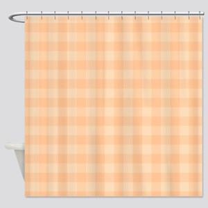 Pastel Melon Tartan Pattern Shower Curtain