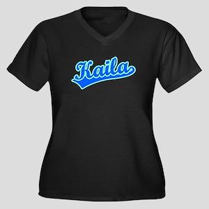 Retro Kaila (Blue) Women's Plus Size V-Neck Dark T