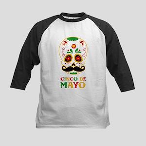 Cinco De Mayo Skull Kids Baseball Tee