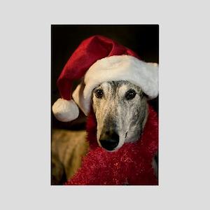 Santa Greyhound Rectangle Magnet