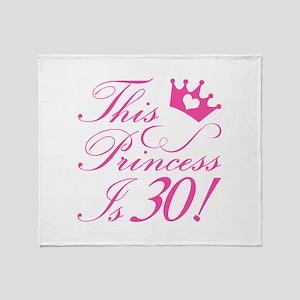 30th Birthday Princess Throw Blanket