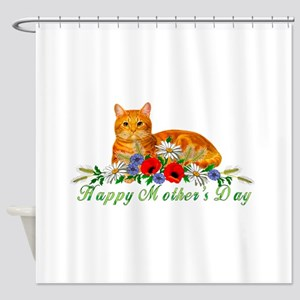 Mother's Day Orange Cat Shower Curtain