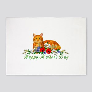 Mother's Day Orange Cat 5'x7'Area Rug