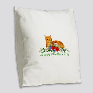 Mother's Day Orange Cat Burlap Throw Pillow
