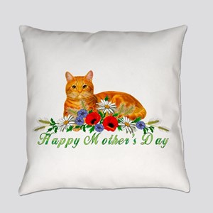 Mother's Day Orange Cat Everyday Pillow