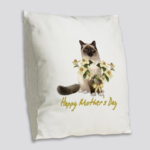 Mother's Day Cat Burlap Throw Pillow