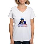 I Want You To Speak English Women's V-Neck T-Shirt