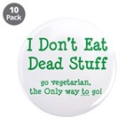 "I Don't Eat Dead Stuff 3.5"" Button (10 pack)"