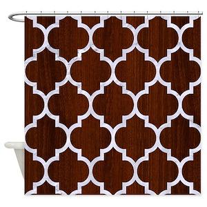 Dark Brown Chevron Shower Curtains