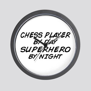 Chess Player Superhero by Night Wall Clock