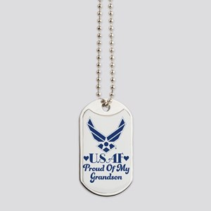 Air Force Grandma Proud Grandson Dog Tags