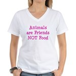 Animals are Friends Not Food Women's V-Neck T-Shir