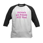 Animals are Friends Not Food Kids Baseball Jersey