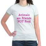 Animals are Friends Not Food Jr. Ringer T-Shirt