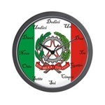 Italian Flag and Crest Wall Clock