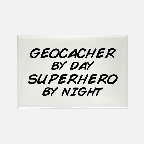 Geocacher Superhero by Night Rectangle Magnet