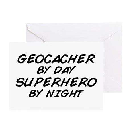 Geocacher Superhero by Night Greeting Cards (Pk of