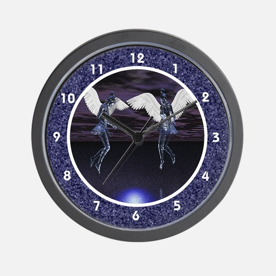 Night Angels over Water Clocks Wall Clock