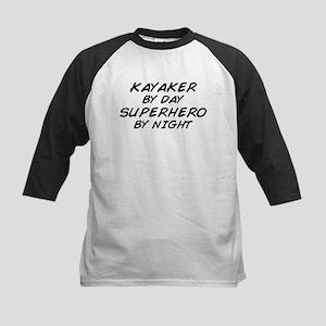 Kayaker Superhero by Night Kids Baseball Jersey