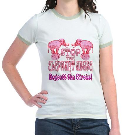 Circus Boycott -Pink Jr. Ringer T-Shirt