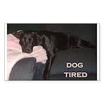 dog tired Rectangle Sticker 50 pk)