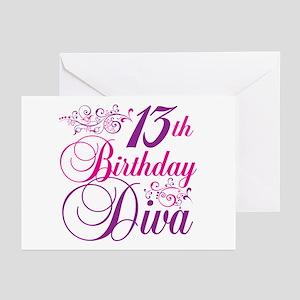 13th Birthday Diva Greeting Cards (Pk of 20)