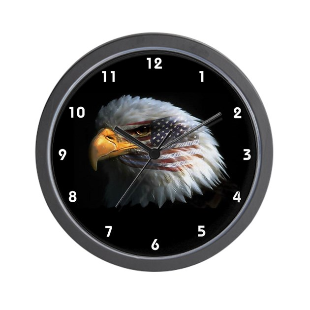 Bald Eagle Usa American Flag Clocks Wall Clock By Gazebogifts